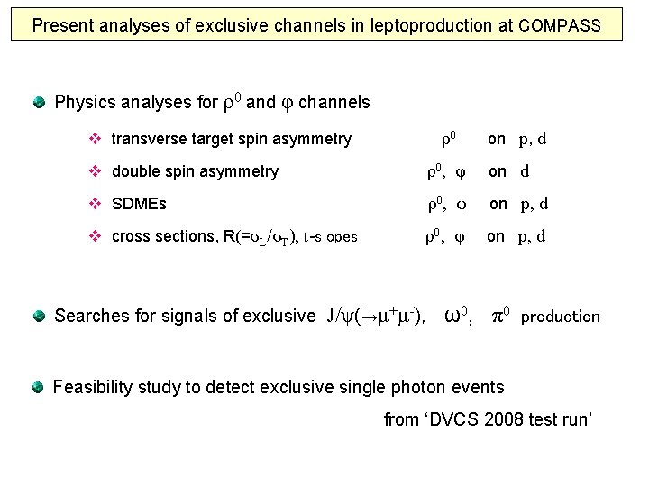 Present analyses of exclusive channels in leptoproduction at COMPASS Physics analyses for ρ0 and