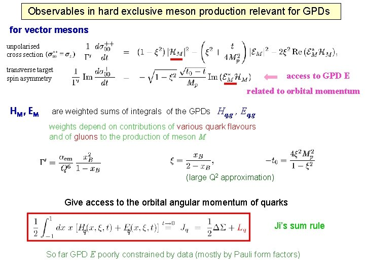 Observables in hard exclusive meson production relevant for GPDs for vector mesons unpolarised cross