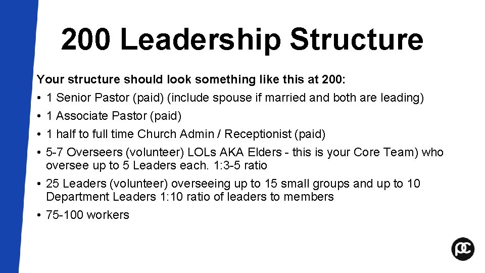 200 Leadership Structure Your structure should look something like this at 200: • 1