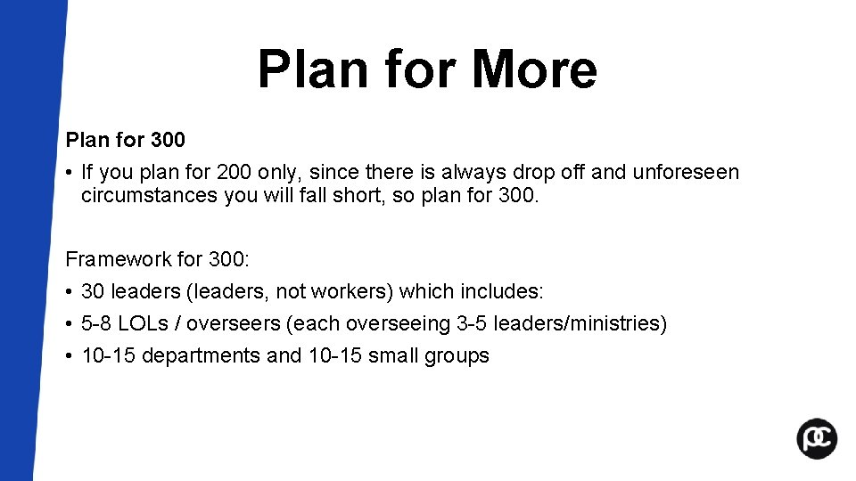 Plan for More Plan for 300 • If you plan for 200 only, since