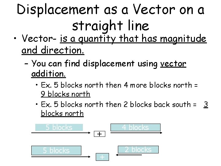 Displacement as a Vector on a straight line • Vector- is a quantity that