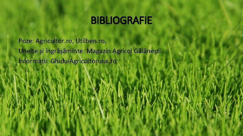 BIBLIOGRAFIE Poze: Agricultor. ro, Utilben. ro. Unelte și îngrășăminte: Magazin Agricol Gălănești. Informații: Ghidul.