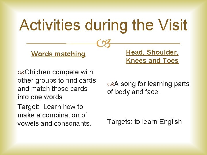Activities during the Visit Head, Shoulder, Words matching Children compete with other groups to