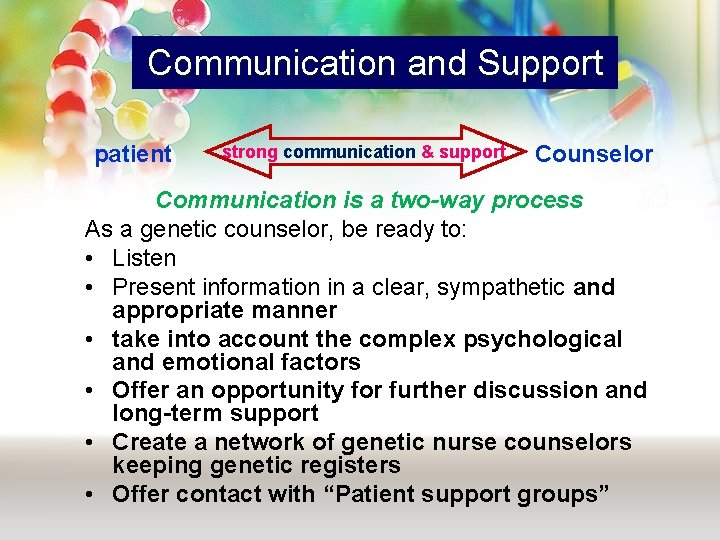 Communication and Support patient strong communication & support Counselor Communication is a two-way process