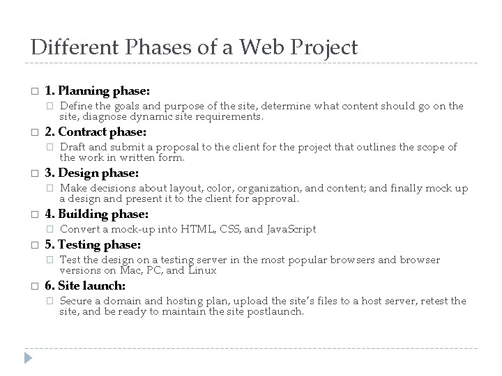 Different Phases of a Web Project � 1. Planning phase: � � 2. Contract