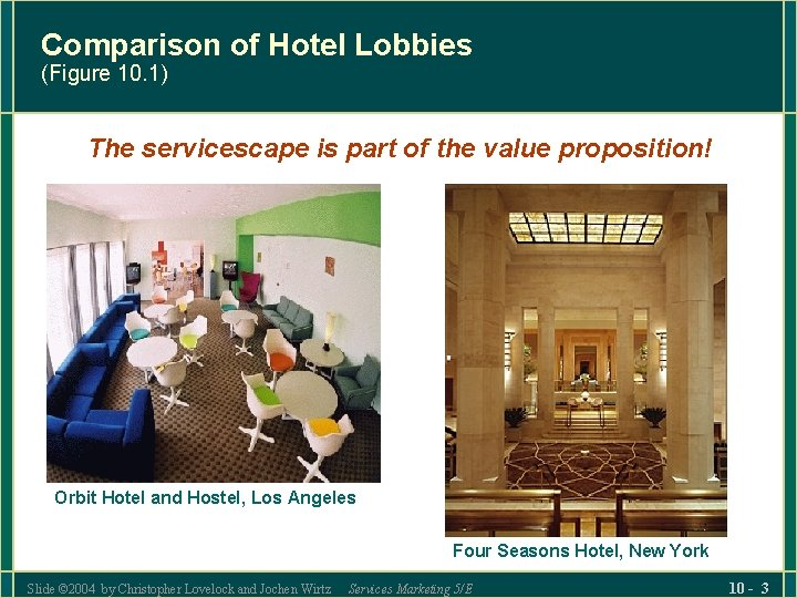 Comparison of Hotel Lobbies (Figure 10. 1) The servicescape is part of the value
