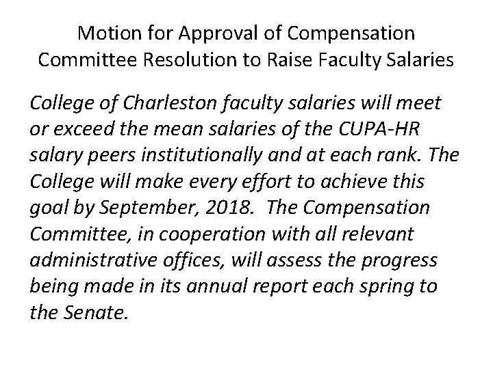 Motion for Approval of Compensation Committee Resolution to Raise Faculty Salaries College of Charleston