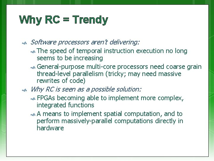 Why RC = Trendy Software processors aren't delivering: The speed of temporal instruction execution