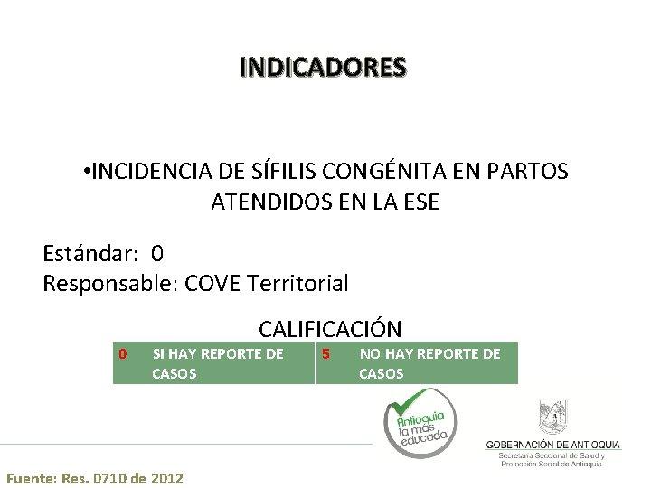 INDICADORES • INCIDENCIA DE SÍFILIS CONGÉNITA EN PARTOS ATENDIDOS EN LA ESE Estándar: 0