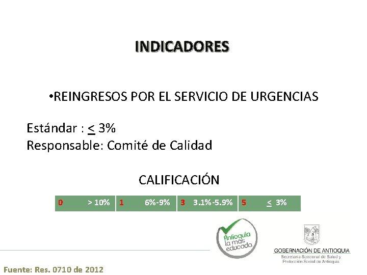 INDICADORES • REINGRESOS POR EL SERVICIO DE URGENCIAS Estándar : < 3% Responsable: Comité