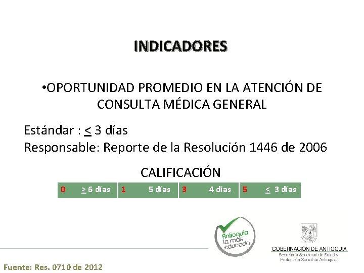 INDICADORES • OPORTUNIDAD PROMEDIO EN LA ATENCIÓN DE CONSULTA MÉDICA GENERAL Estándar : <
