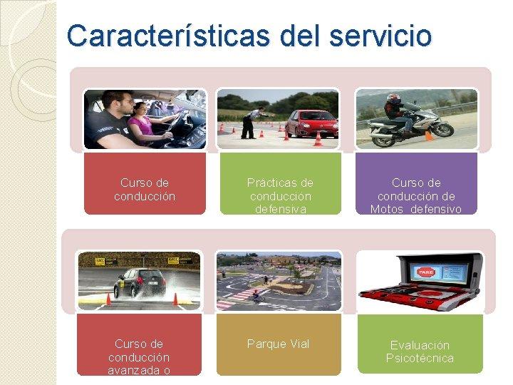 Características del servicio Curso de conducción avanzada o Prácticas de conducción defensiva Parque Vial