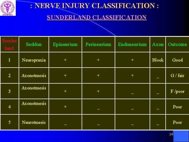 : NERVE INJURY CLASSIFICATION : SUNDERLAND CLASSIFICATION Sunder land Seddon Epineurium Perineurium Endoneurium 1