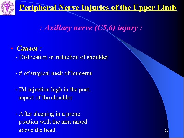 Peripheral Nerve Injuries of the Upper Limb : Axillary nerve (C 5, 6) injury