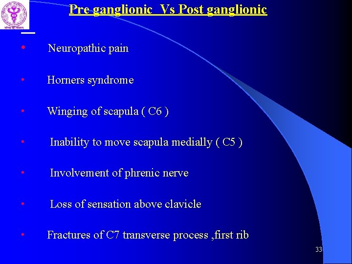 Pre ganglionic Vs Post ganglionic • Neuropathic pain • Horners syndrome • Winging of