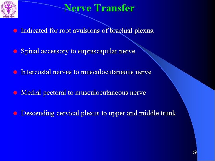 Nerve Transfer l Indicated for root avulsions of brachial plexus. l Spinal accessory to