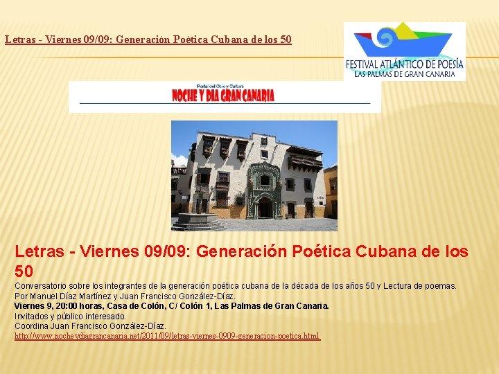 Letras - Viernes 09/09: Generación Poética Cubana de los 50 Conversatorio sobre los integrantes