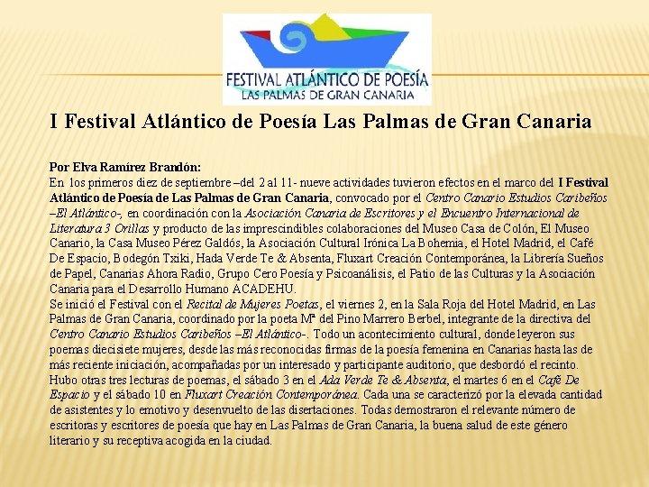 I Festival Atlántico de Poesía Las Palmas de Gran Canaria Por Elva Ramírez Brandón: