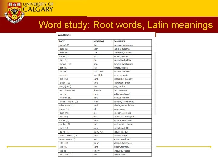 Word study: Root words, Latin meanings