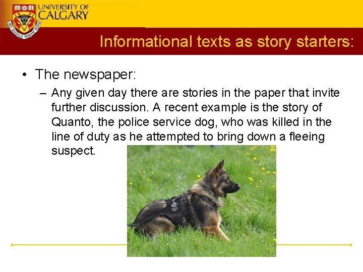 Informational texts as story starters: • The newspaper: – Any given day there are