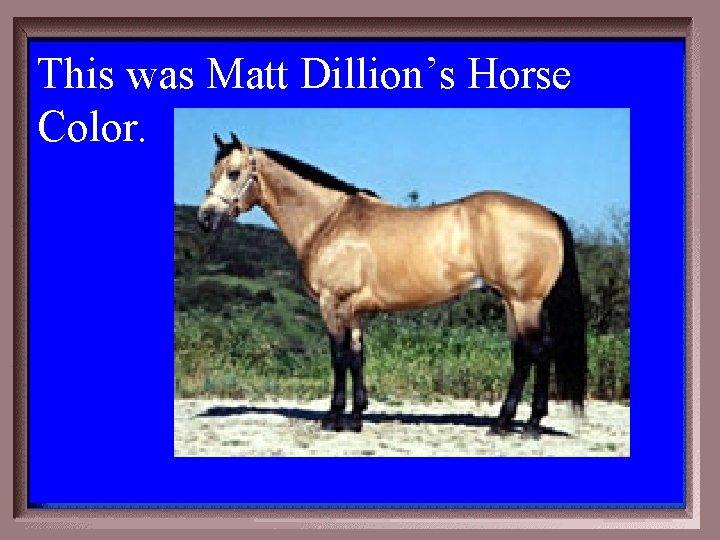 This was Matt Dillion's Horse Color. 2 -400