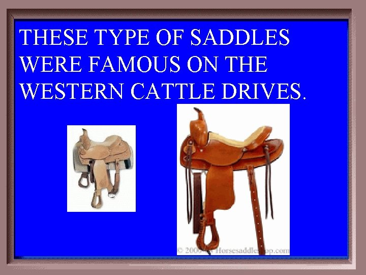 THESE TYPE OF SADDLES WERE FAMOUS ON THE WESTERN CATTLE DRIVES. 1 - 100