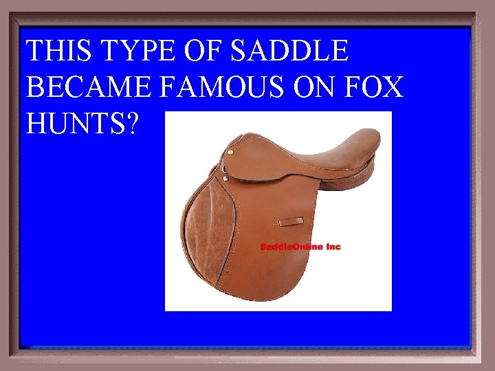 THIS TYPE OF SADDLE BECAME FAMOUS ON FOX HUNTS? 3 -200