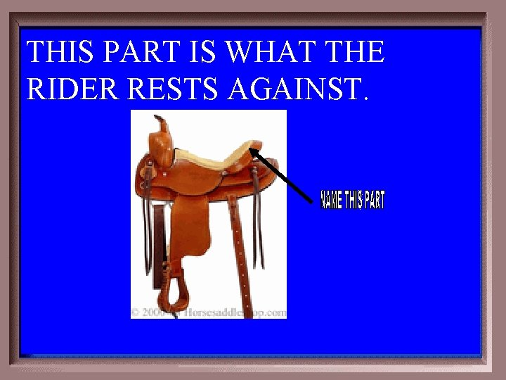 THIS PART IS WHAT THE RIDER RESTS AGAINST. 3 -400
