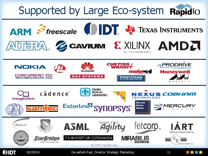 Supported by Large Eco-system © 2015 Rapid. IO. org 02/09/16 Devashish Paul, Director Strategic