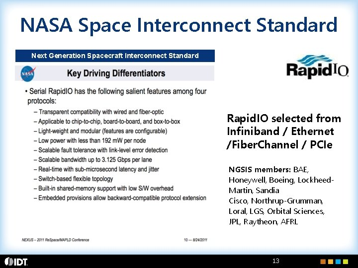 NASA Space Interconnect Standard Next Generation Spacecraft Interconnect Standard Rapid. IO selected from Infiniband