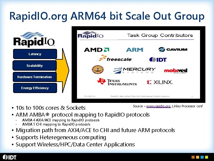 Rapid. IO. org ARM 64 bit Scale Out Group Latency Scalability Hardware Termination Energy