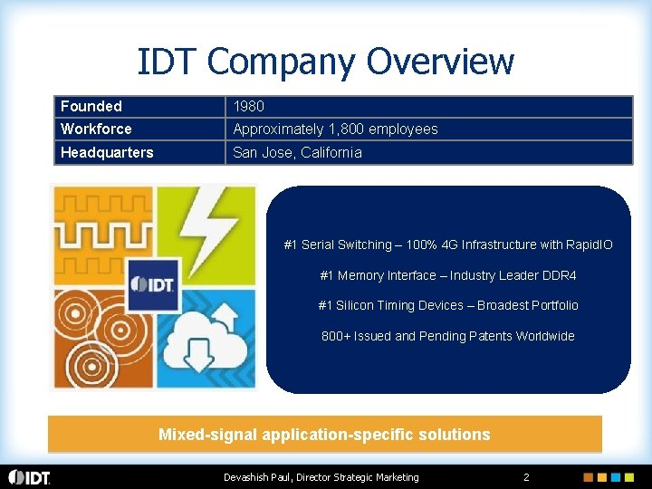 IDT Company Overview Founded 1980 Workforce Approximately 1, 800 employees Headquarters San Jose, California