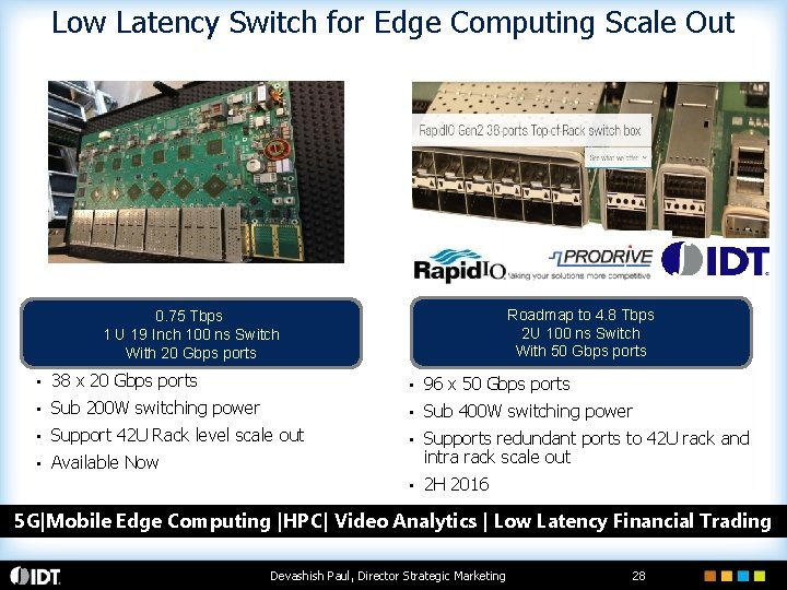 Low Latency Switch for Edge Computing Scale Out Roadmap to 4. 8 Tbps 2