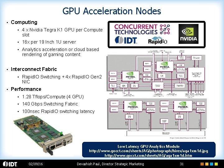 GPU Acceleration Nodes • • Computing • 4 x Nvidia Tegra K 1 GPU