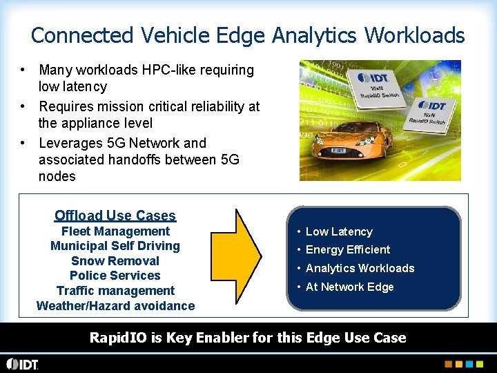 Connected Vehicle Edge Analytics Workloads • Many workloads HPC-like requiring low latency • Requires