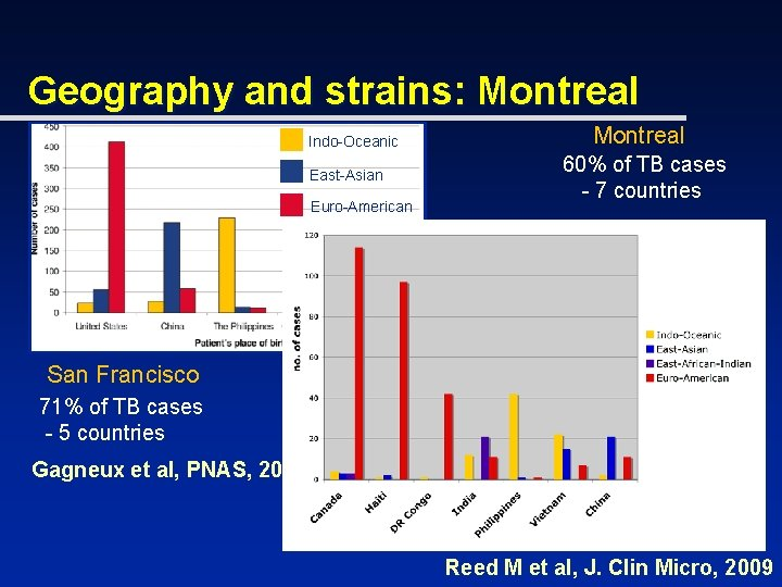 Geography and strains: Montreal Indo-Oceanic East-Asian Euro-American Montreal 60% of TB cases - 7