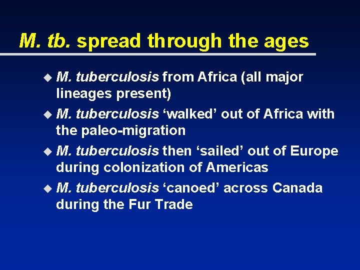 M. tb. spread through the ages u M. tuberculosis from Africa (all major lineages