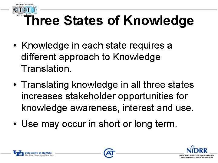Three States of Knowledge • Knowledge in each state requires a different approach to