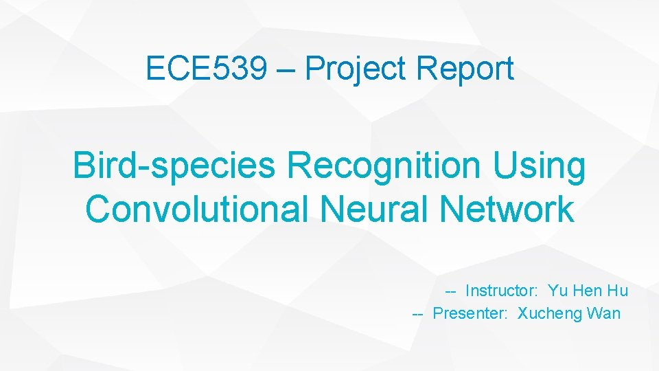 ECE 539 – Project Report Bird-species Recognition Using Convolutional Neural Network -- Instructor: Yu