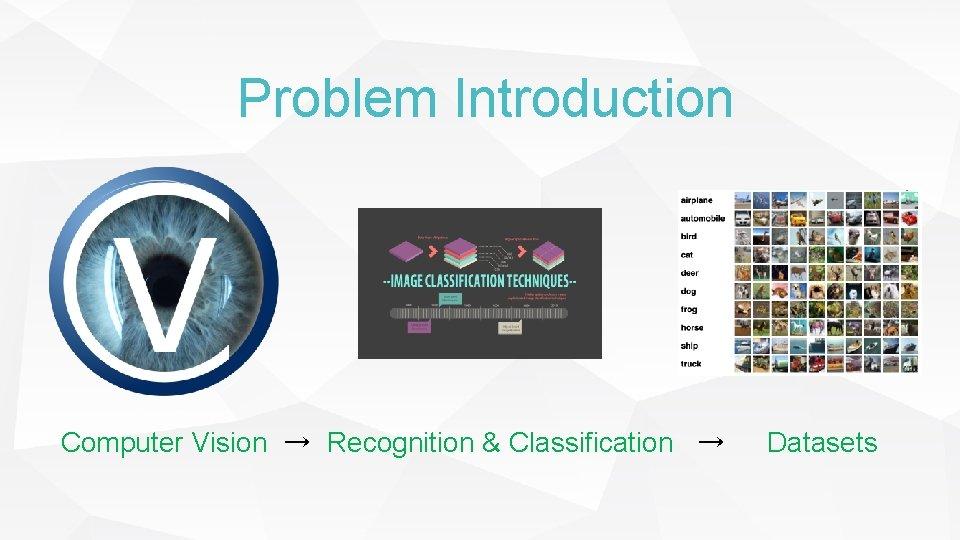 Problem Introduction Computer Vision → Recognition & Classification → Datasets