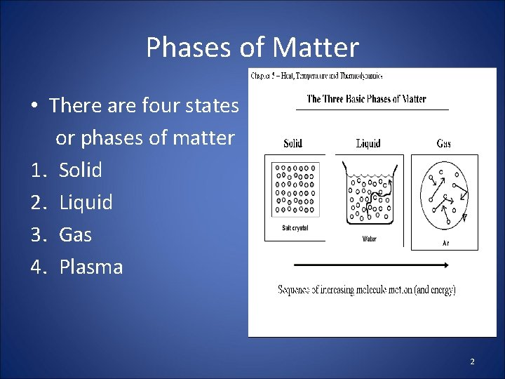 Phases of Matter • There are four states or phases of matter 1. Solid