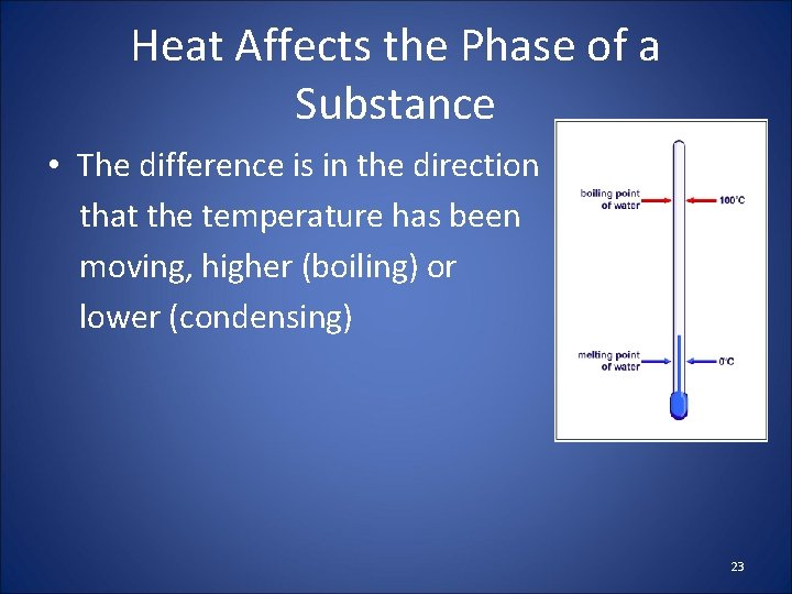 Heat Affects the Phase of a Substance • The difference is in the direction