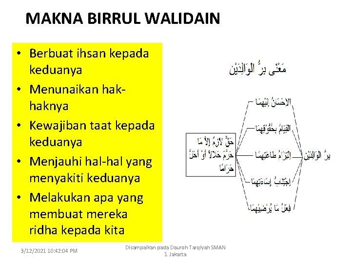 MAKNA BIRRUL WALIDAIN • Berbuat ihsan kepada keduanya • Menunaikan hakhaknya • Kewajiban taat