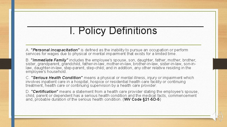 I. Policy Definitions A.