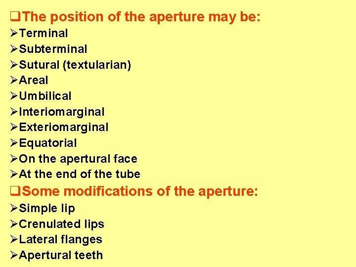q. The position of the aperture may be: ØTerminal ØSubterminal ØSutural (textularian) ØAreal ØUmbilical