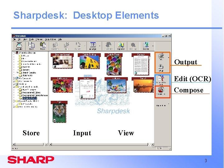 Sharpdesk: Desktop Elements Output Edit (OCR) Compose Store Input View 3