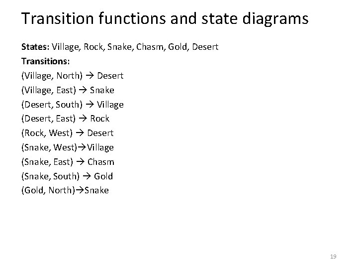 Transition functions and state diagrams States: Village, Rock, Snake, Chasm, Gold, Desert Transitions: (Village,