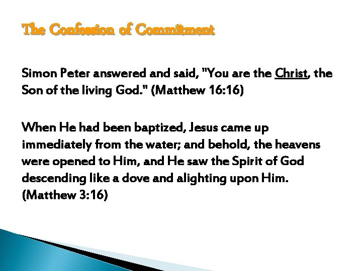 The Confession of Commitment Simon Peter answered and said,