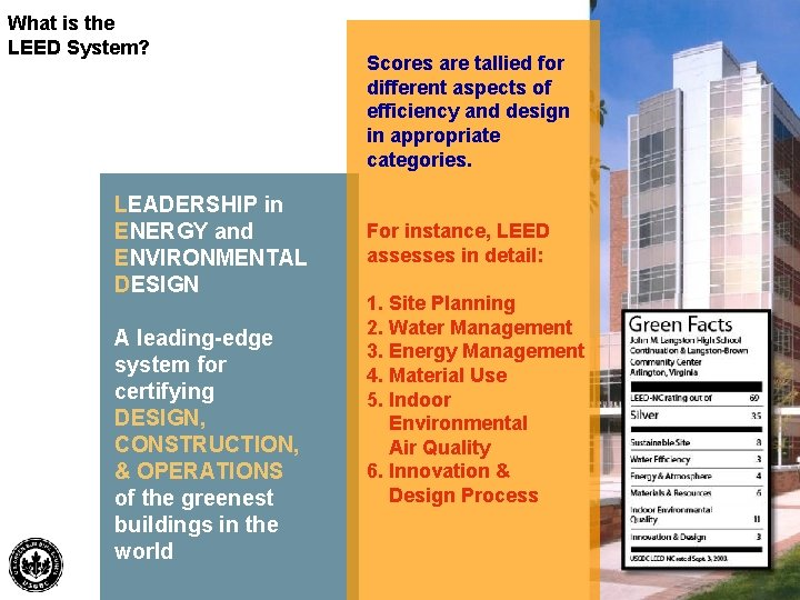 What is the LEED System? LEADERSHIP in ENERGY and ENVIRONMENTAL DESIGN A leading-edge system