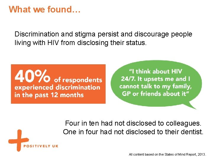 What we found… Discrimination and stigma persist and discourage people living with HIV from